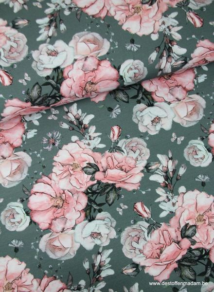 antique roses pink - jersey