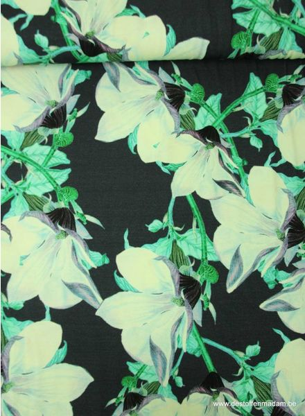 green flowers digital print - viscose jersey
