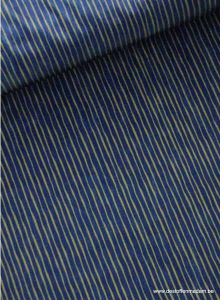 kobalt/khaki streepjes  - velvet S