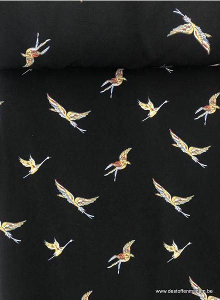 cranes - stretch polyester fabric