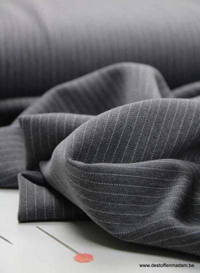 grey thin stripe - tencel stretch S