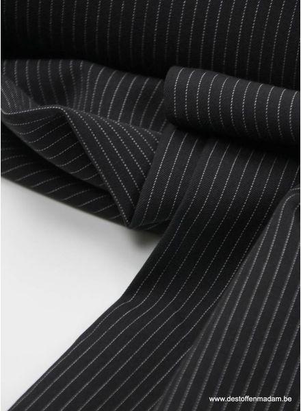 zwart dunne streep - rekbare tencel S
