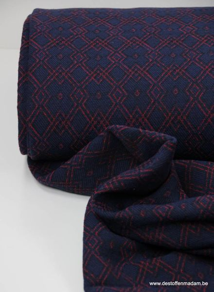 red and blue - woven jacquard