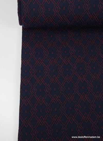 red and blue - geweven jacquard
