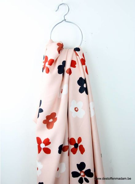 pink flowers - winter crepe