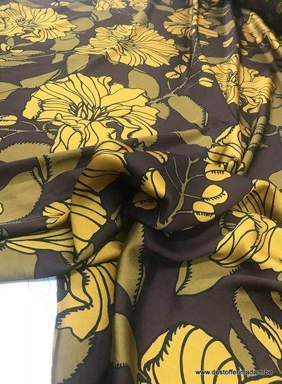 classy flowers ochre - Italian satin