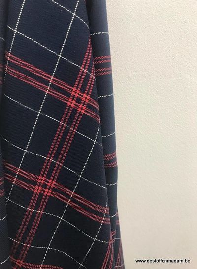 checks blue/burgundy - polyester