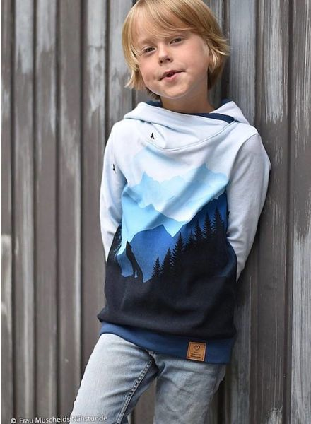 Wolf Moon blue terry sweater