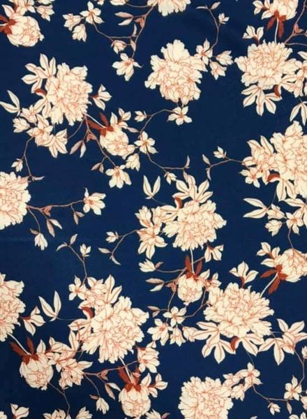 french flowers - rekbare viscose