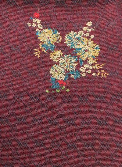 luxueuze geweven jacquard - bordeaux met bloemen en lurex