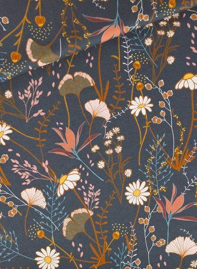 Flower Field - Cotton Gabardine Twill - Night Blue
