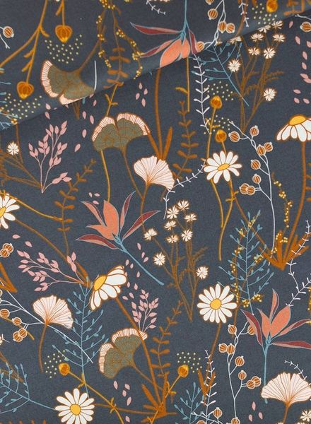 Flower Field KATOEN Gabardine Twill - Nachtblauw