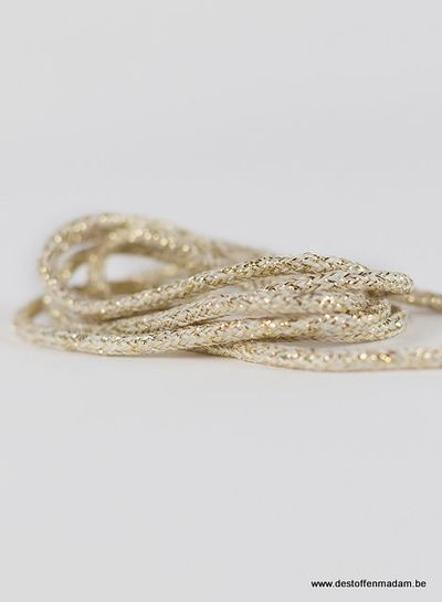 See You at Six Shoelaces - Nature White with Gold Lurex