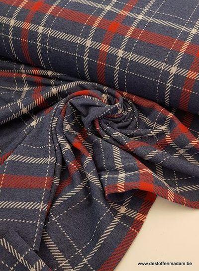 ruitjes blauw - dikke tricot