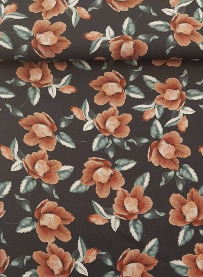 pink roses viscose twill