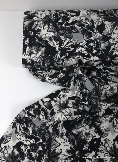 black and white flowers - sweater
