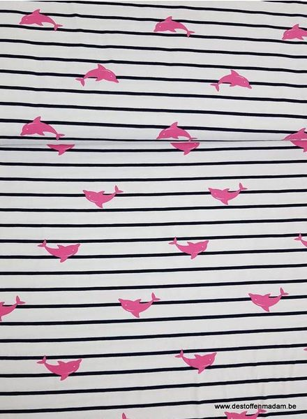dolphins and stripes roze - tricot