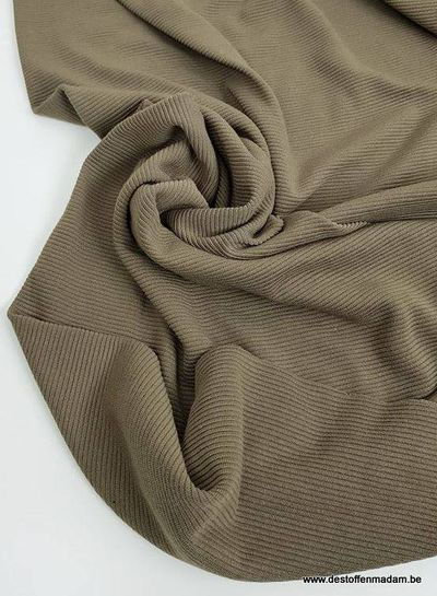 khaki textured knit fabric