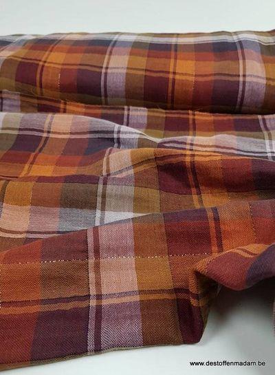 Ruitjes roest bruin met lurex - double gauze
