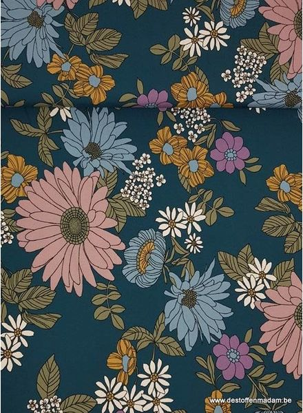 petrol flowers - viscose