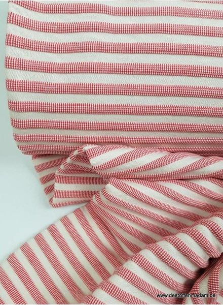 red striped textured jersey fabric