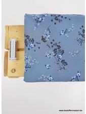 soft blue flowers - viscose