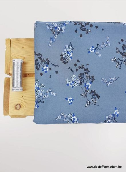 soft blue flowers - viscose