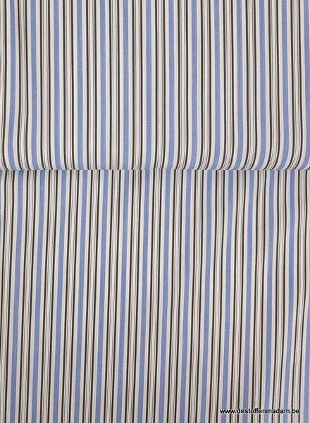 blauw/taupe gestreept - hemden katoen