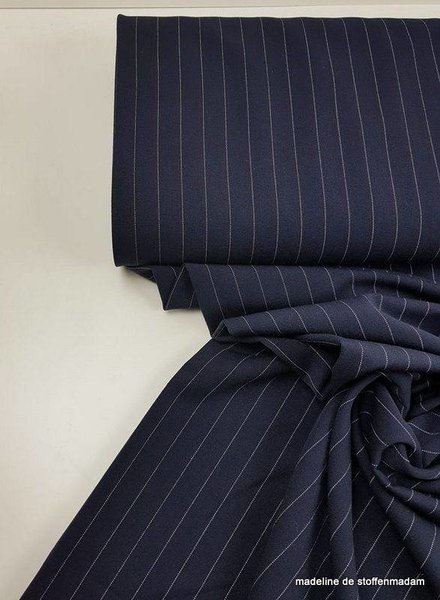 dark navy wide stripe - rekbare tencel