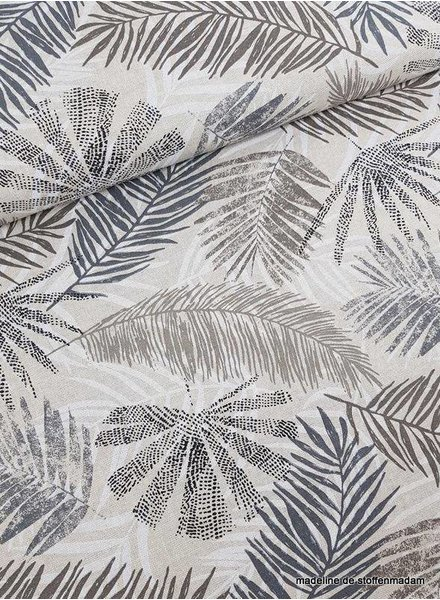 Emilia's leaves grey - deco fabric