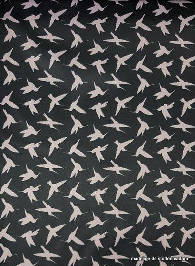pink birds - satijn - Italian quality