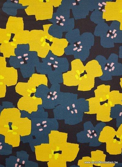bloemen oker - katoen