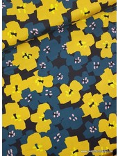 flowers ochre - cotton