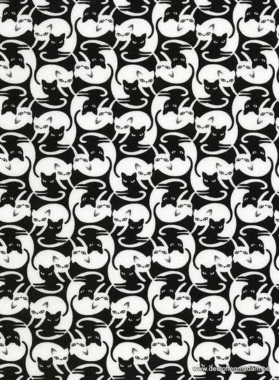 Timeless Treasures Fabrics black cat - katoen