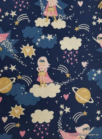 Timeless Treasures Fabrics superwoman - katoen