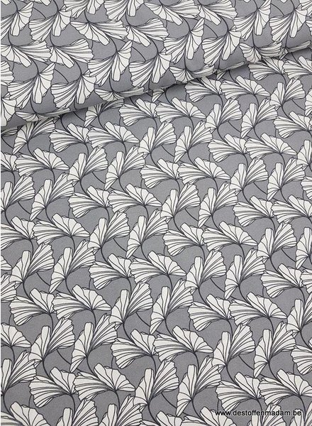 dandelions grey - stretch crêpe