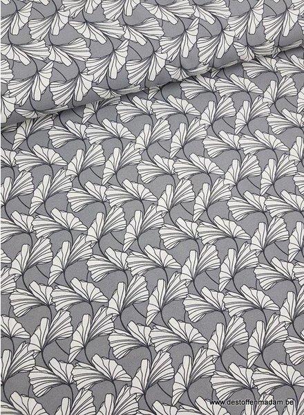 dandelions grijs - rekbare crêpe
