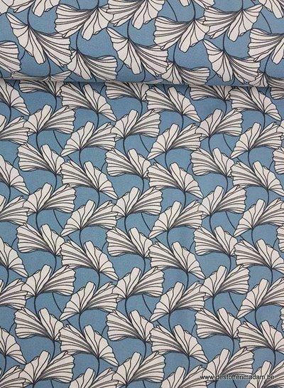 dandelions blue - stretch crêpe