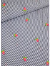 neon embroidery flowers stripes - cotton