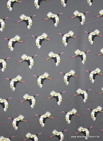 kraanvogels grijs - satijn