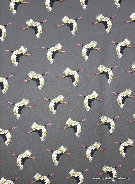 cranes grijs - satin