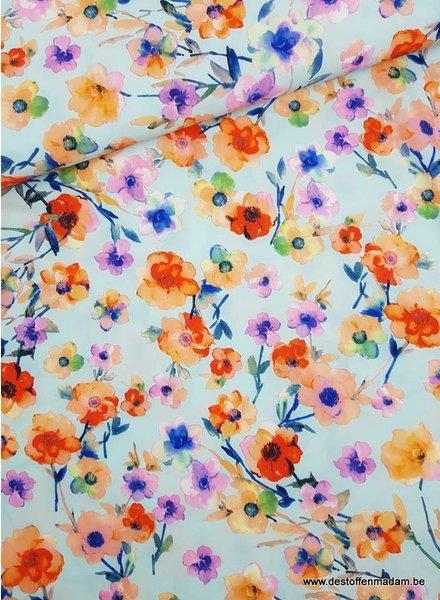 light blue magnolia - strech fabric