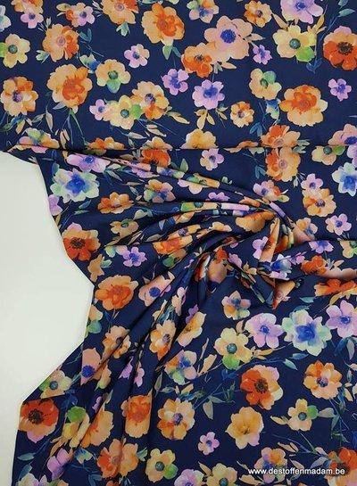 marineblauw magnolia - soepelvallende rekbare stof