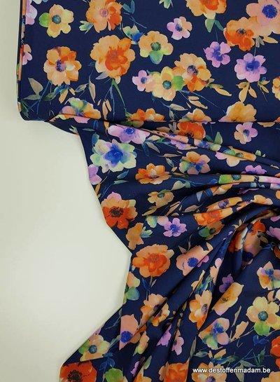 navy magnolia - strech fabric
