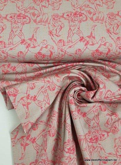 roze monkeys - french terry