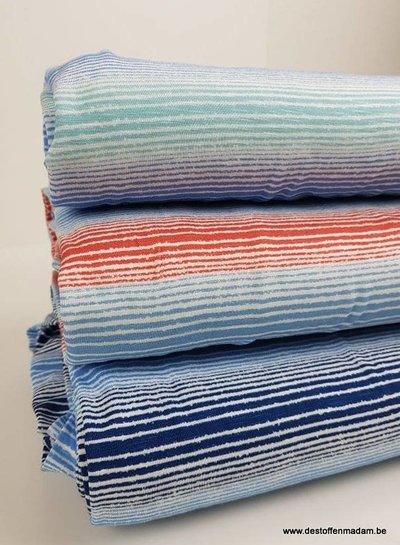 blue/pink ecuador streepjes - viscose jersey