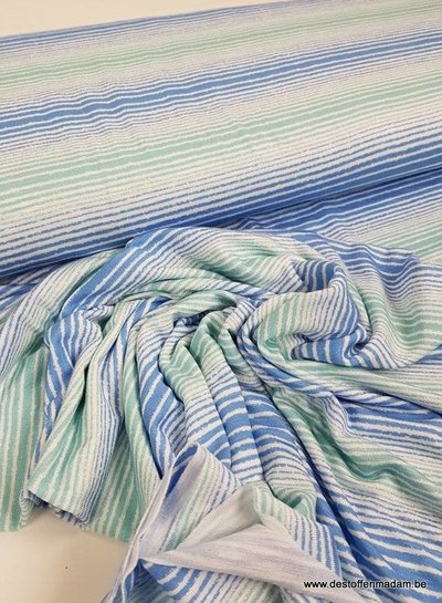 blauw/mint ecuador streepjes - viscose tricot