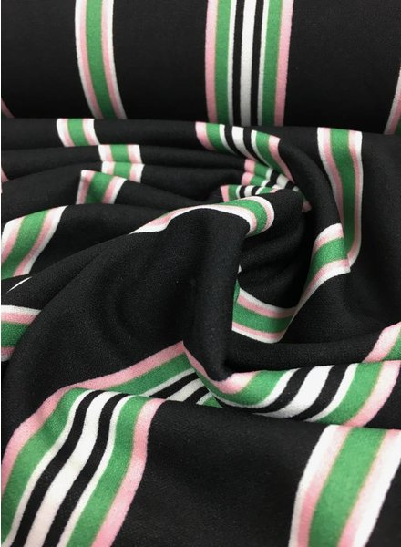 pink and green stripes – viscose crepe