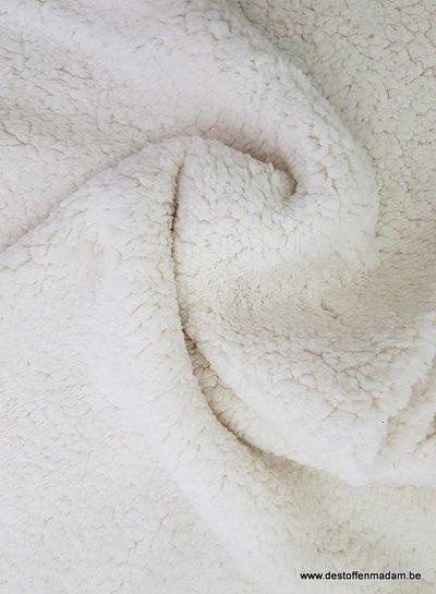rekbare teddy fleece - naturel
