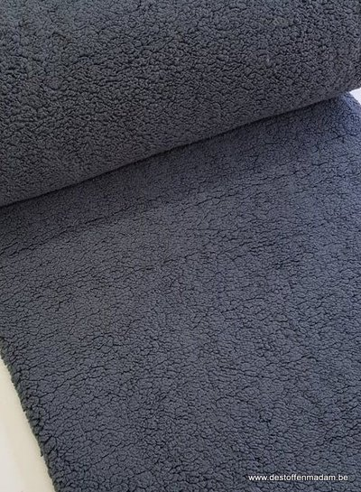 rekbare teddy fleece - nachtblauw